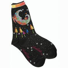 Laurel Burch Socks Mystic Moon Black
