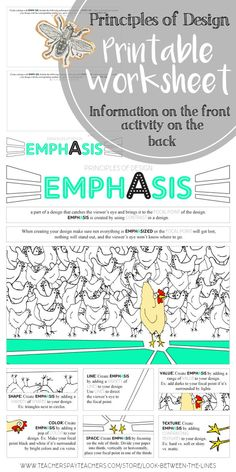 This worksheet covers the principle of design, emphasis. There is information and visuals on the front that show how to create emphasis in art, and activities on the back. #principlesofdesign #emphasis #printable #worksheet