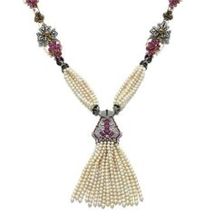 Pearl, ruby, gem-set, enamel and diamond sautoir Suspending a pearl tassel, Cartier,