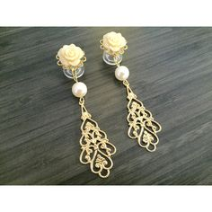 10mm 00g Wedding Gauges 0g Dangle Plugs, 2g Bridal Gauges, 4g Ear... ($27) ❤ liked on Polyvore featuring jewelry, earrings, gold filigree earrings, gold earrings, beaded dangle earrings, gold dangle earrings and rose gold jewelry