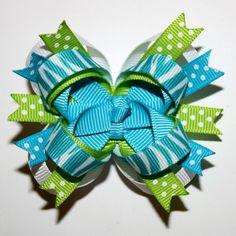 "2.5"" Mini Blue Zebra Stripes Polka Dots Blue Lime Green White Stacked Hair Bow"