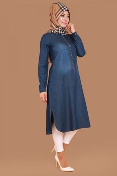 Önden Düğmeli Kot Tunik  Koyu Kot Ürün kodu: MSW8845-S--> 59.90 TL Hijab Fashion 2016, Abaya Fashion, Muslim Fashion, Denim Fashion, Fashion Dresses, Long Blouse Outfit, Modest Dresses, Nice Dresses, Maxi Skirt Tutorial