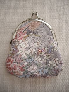 kimono fabrics palm size coin purse sakura pattern by WAYOKO, $25.00