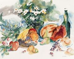 Garden Fresh - Flowers and Fruit See More at:  http://www.DianeStoneArt.com #art #paintings #watercolor