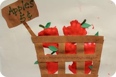 Creative Image of Paper Apple Crafts Paper Apple Crafts Moments Of Mommyhood Hand Print Apples In A Basket Kids Crafts, Daycare Crafts, Fall Crafts For Kids, Toddler Crafts, Art For Kids, Preschool Apple Theme, Apple Activities, Preschool Crafts, Classroom Activities