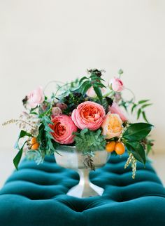 floral arrangement by Stems Floral Design // photo by Taylor Lord. Love the teal seat contrasting with the bouquet. Floral Centerpieces, Wedding Centerpieces, Floral Arrangements, Wedding Bouquets, Wedding Decorations, Flower Arrangement, Floral Wedding, Wedding Flowers, Wedding Pics