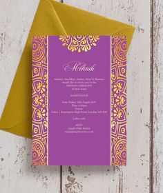 Personalised Indian Asian Purple Magenta Gold Mandala Mehndi Baraat Wedding Cards