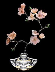 Sakura. Gold, silver, garnet, jade green, clear quartz, chalcedony, patinated. Anna Nova jewelry house