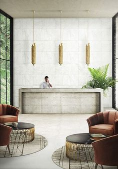 BRABBU Design Forces - Contemporary Home Furniture Contract hotel with golden pendant light, hotel lobby in Brasil. Find more Home Inspiration Furniture ideas at http://www.brabbu.com/en/inspiration.php