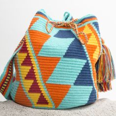 Guajira Mochila Bag – WAYUU TRIBE | Handmade Bohemian Bags Tapestry Bag, Tapestry Crochet, Crochet Handbags, Crochet Purses, Mochila Crochet, Crotchet Patterns, Art Bag, Tunisian Crochet, Knitted Bags