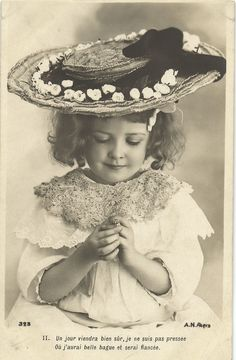Little Edwardian Beauty Girl with Hat and Ring Photo Postcard | eBay
