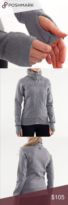 RARE Lululemon Sparkle Cuddle Up Jacket Bundle 2+ items and get an automatic ✨15% Off!✨ Offers also welcome!  Bundle at least $50 (after 15% off discount) and I'll send you FREE SHIPPING! 💸📦  Like new condition grey sparkle zip-up from Lululemon! Fabric has tiny sparkles throughout! Features a ruched collar and front logo, thumb holes, and a silver front zip. lululemon athletica Jackets & Coats