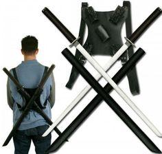 Ninja Sword Set Shoulder Back Strap Carry Case Katana Scabbards Collectible Gift