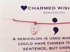 SemiColon Project | MIND | Semi colon bracelet | Mental Health Awareness | Semicolon wish bracelet | Mental health awareness bracelet by CharmedWishesUK on Etsy https://www.etsy.com/listing/240366402/semicolon-project-mind-semi-colon