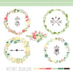 Wreaths Floral clipart, Digital Wreath, Floral Frames, Flowers, Arrows Clip art for scrapbooking, wedding invitations, Small Commercial Use
