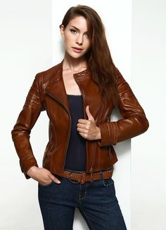 Tobacco-Brown Leather Jacket by Derimod @Markafoni