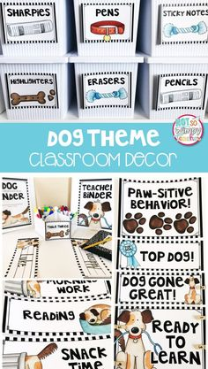 A dog or puppy theme classroom is lots of fun! How about having a class pet- a stuffed dog- for kids to read with? This kit includes everything you need to decorate and organize a dog themed classroom!