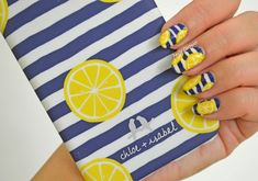 Navy Stripes and Lemons nail art by NailsContext… Painted Acrylic Nails, Best Acrylic Nails, Pretty Nails, Fun Nails, Lemon Nails, Lemon Painting, Nail Colors, Color Nails, Manicure