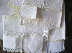 Old fashioned hand towels...vintage linen, lace, embroidery ~ 4 mismatched hand towels for your mismatched guests