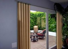 sliding glass patio doors with window treatments