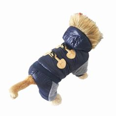 New Thickening Warm Jacket Winter Dog Clothes Pet Coat Clothing Hooded Jumpsuit Warm Clothes For Dogs  Price: 9.24 USD