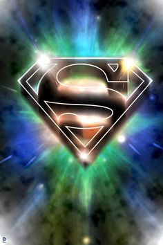 Superman: Superman Logo Design in Colored Lights Poster at AllPosters.com