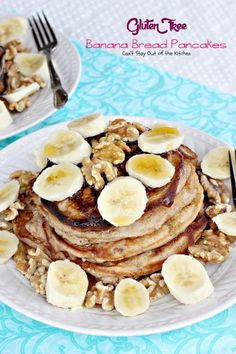 Gluten Free Banana Bread Pancakes - Can't Stay Out of the Kitchen