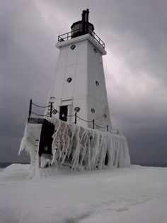 Ludington Lighthouse - Michigan, yes the winters get cold but amazing frozen ice