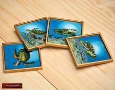 Hand painted Glass Coasters Set of 4  Square by DECORCONTRERAS