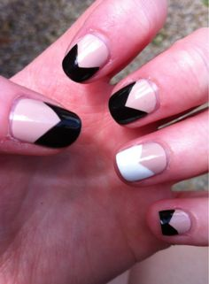 black and white v-nails