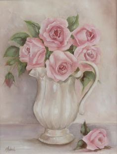 Romantic Country and Rose Paintings: White Pitcher of  Pink Roses by Chris Hobel Shabby Chic Print and Greeting cards from http://chris-hobel.artistwebsites.com/