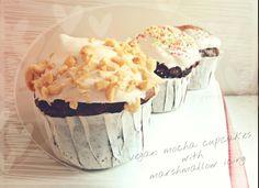 #aquafaba #vegan #mocha #chocolate #cupcakes with aquafaba #coffee #filling and #marshmallow #icing