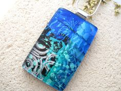 Large Silver Blue & Icy Aqua Necklace  Dichroic  by ccvalenzo, $34.00