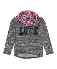 Heather Black & Pink 'LOVE' Scarf-Accent Tee - Toddler & Girls