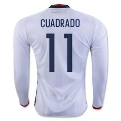 61d5b0584 2016 Colombia Soccer Team Home Long Sleeve Replica Shirt  11 CUADRADO Colombia  Soccer Team 16 Euro Home Long Sleeve Replica Shirt  11 CUADRADO