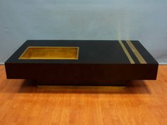 Willy Rizzo designed black and brass coffee table c.1970