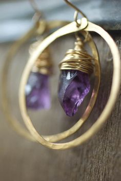 Amethyst and Gold Circle Earrings. $40.00, via Etsy.