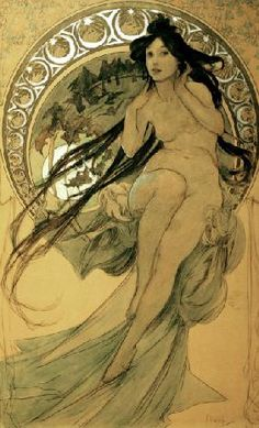 Today's classic artist is Alphonse Mucha. Czech artist and one of the founders of art nouveau. Mucha's studio.Mucha's self-portrait. Find more wonderful artwork by Mucha in books … Art Nouveau Mucha, Alphonse Mucha Art, Art Nouveau Poster, Illustration Art Nouveau, Illustration Photo, Design Art Nouveau, Art Deco, Culture Art, Jugendstil Design