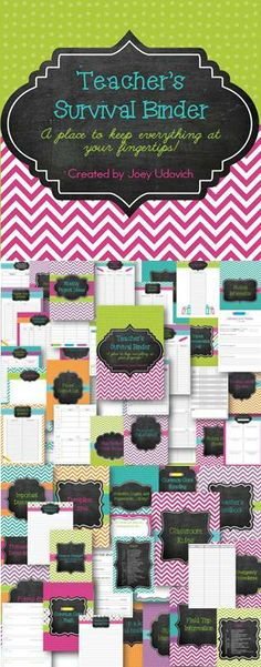NOW EDITABLE!! You will NEVER have to thumb around your desk and filing cabinets for what you need again!  You will already have it in your binder...organized and neatly placed!  After teaching for 6+ years, I finally did it and I'm super proud of it!  I spoke to several of my fellow educators and found out what they needed at their fingertips and this is what I came up with. 232 pages of organization!$