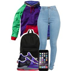 A fashion look from December 2014 featuring herschel bags and purple hooded sweatshirt. Browse and shop related looks.