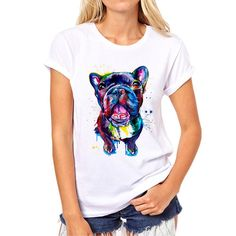 Hot sale Stained dog printed woman& t-shirt summer Bulldog/Great dane Print Tops Fashion Girl Tshirt Tee Shirt Femme Pug Puppies, Pugs, Top Mode, Summer Dog, Poodle, Girl Fashion, Tee Shirts, T Shirts For Women, Women's T Shirts