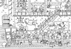 coloriage atelier du Père Noël