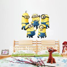 2014 New Design Despicable Me 2 Minion Movie Decal Removable Wall Sticker Home Decor Art Kids /Nursery Loving Gift WS-41 $7.31