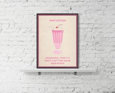 PULP FICTION Movie Poster Milkshake Pulp Fiction by BaydleCreative