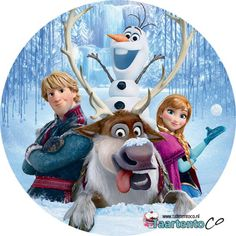 Taartentoco Eetbare print Frozen Olaf Kristoff Sven en Anna Rond