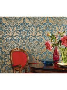 Teal and Gold Wallpaper - Desire Wallpaper – Graham & Brown Teal And Gold Wallpaper, Damask Wallpaper, Paper Wallpaper, Home Wallpaper, Wallpaper Samples, Wallpaper Ideas, Gold Walls, Blue Walls, Exotic Bedrooms
