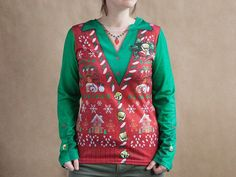 This womens Christmas ugly sweater t shirt, discovered by The Grommet, is printed with festive designs, without the bulk and itchiness you dread.