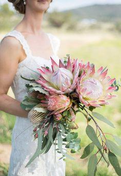 Gorgeous Bridal Bouquet at Peninsula Wild Flower featuring Native Flowers, King Protea, Menzii Banksia, Gum Australian Natives