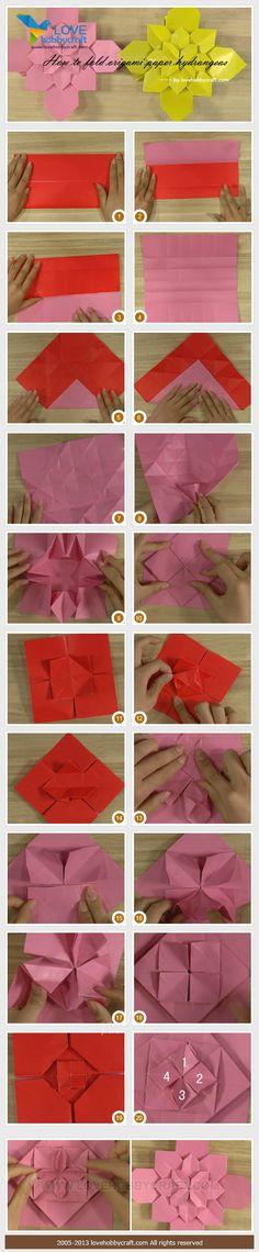 fold origami paper hydrangeas