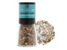 Fisherman's Wharf Sea Salt Blend Grinder: Reel in oceans of flavour with our artisan blend of sea salt crystals, zesty lemon, herbs, and spices. Season salmon, trout, cod or any fish to lock in the juices before grilling, panfrying, or steaming. #glutenfree